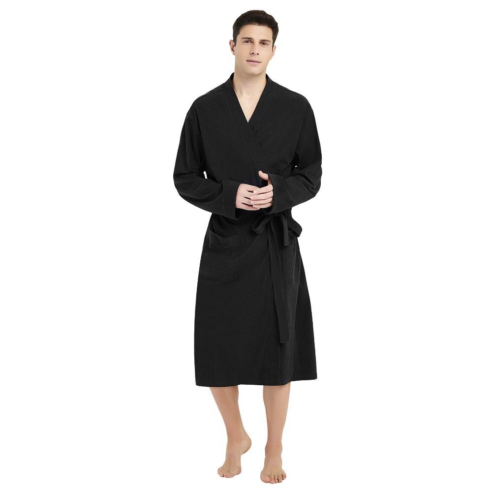 U2SKIIN Mens Cotton Robe Lightweight Knit Bathrobe (L/XL,Balck)
