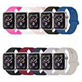 YANCH Compatible with for Apple Watch Band 38mm 40mm, Soft Silicone Sport Band Replacement Wrist Strap Compatible with for iWatch Nike+,Sport,Edition,M/L,Size, Colorful