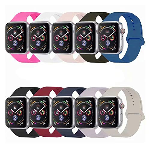 YC YANCH Compatible with for Apple Watch Band 38mm 40mm, Soft Silicone Sport Band Replacement Wrist Strap Compatible with for iWatch Series 5/4/3/2/1, Nike+, Sport, Edition, S/M,Size, Colorful from YC YANCH
