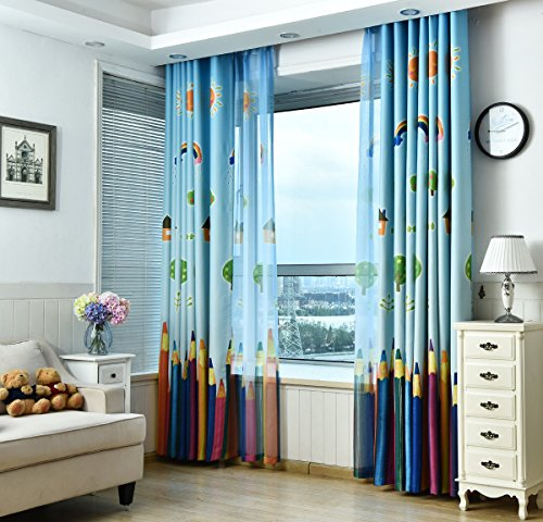 AiFish 1 Panel House Sun Rainbow Tree and Paintbrush or Colored Pencils Printing Kids Room Blackout Curtains Grommet Top Room Darkening Window Curtain Drape Panels for Preschoolers W39 x L63 inch]()