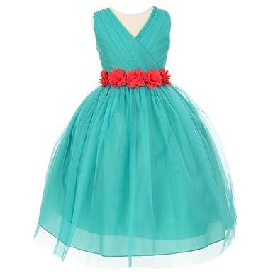 d0dcba91621e1 Amazon.com: Little Girls Jade Coral Chiffon Floral Sash Tulle Flower ...