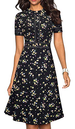 HOMEYEE Women's Chic Crew Neck Party Homecoming Aline Dress A135(12,Black Floral)