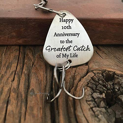 Happy Anniversary To The Greatest Catch of My Life Fishing Lure- Gift For Husband Greatest Catch Lure Anniversary Gift For The Fisherman