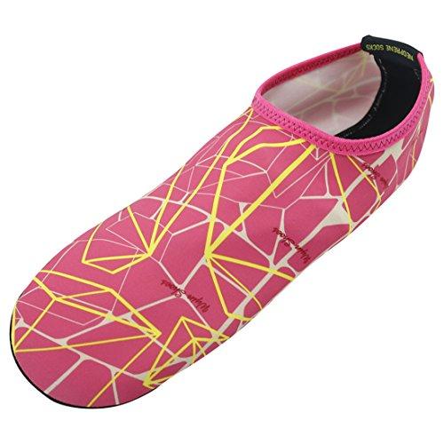 Forfoot Wasser Socken, Unisex Wasser Haut Schuhe Low Top Tauchen Schnorcheln Neopren Strand Socken Tauchen Schnorchel Socken Volleyball Fußball Schuhe für Wassersport Yoga gelb rosa rot
