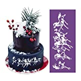 ART Kitchenware 18.1''×7.5'' Large Running Horse Lace Mesh Stencil Lace Cake Stencil Birthday Cake Side Stencils Template Mold Cake Decorating Bakery Tool MST-19 Purple Color