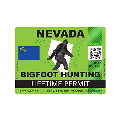 fagraphix Nevada Bigfoot Hunting Permit Sticker Die Cut Decal Sasquatch Lifetime FA Vinyl - 4.00 Wide