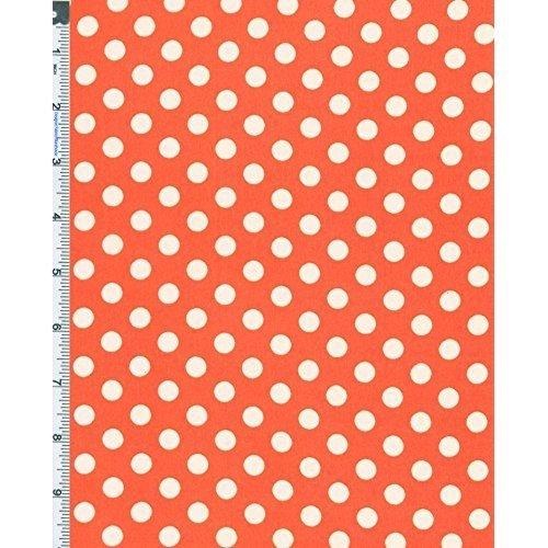 Orange/White Polka Dot Hi-Multi Chiffon, Fabric by The Yard ()