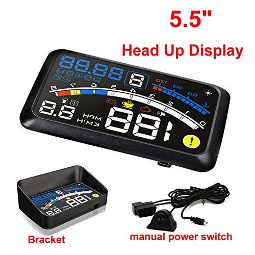 5.5 inch OBDII Car Windshield HUD Head Up Display, OBD2 II/EUOBD car HUD Head Up Display with Over speed Warning System, Projector Windshield Auto Electronic Voltage Alarm, Bracket (blue) by blue--net (Image #8)'