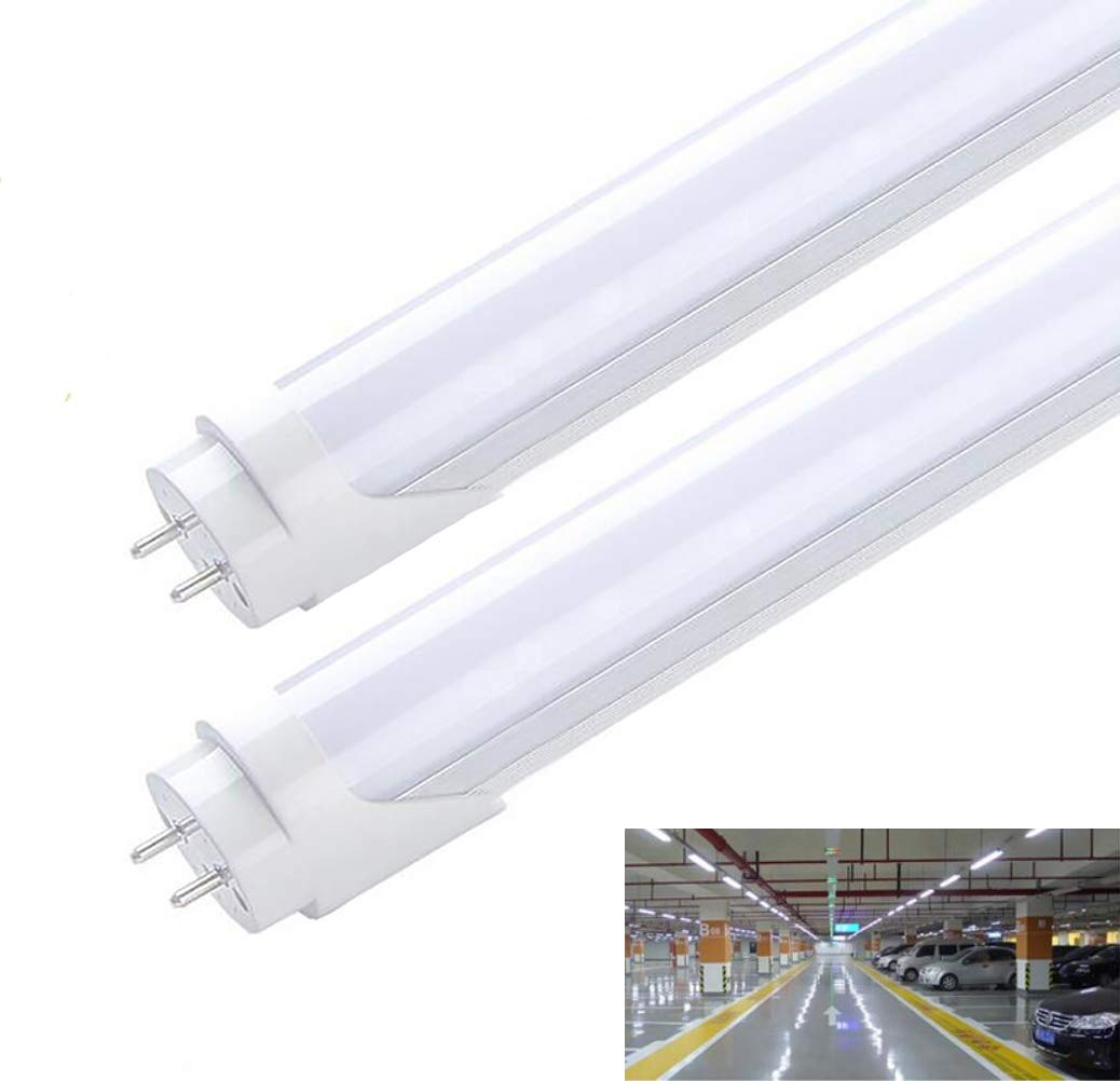 2pack t8 led tube 4ft fed bulbs shop light tube soft light 20w led fluorescent tube replacement ballast dual end powered 6000k daylight glow