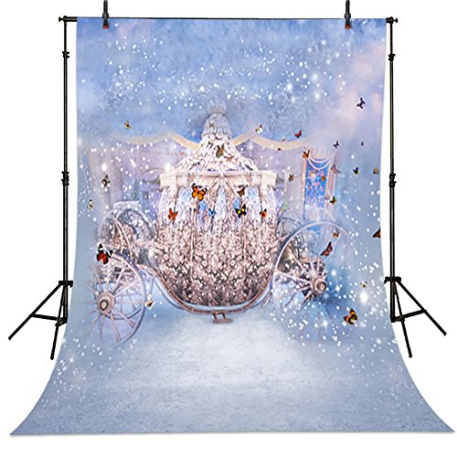 5x7ft Fairy Tale Princess Pumpkin Butterfly Carriage Backdrop Computer Printed Kids Background dd-cm-6708 ()
