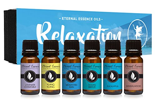 Ocean Breeze Spa (Relaxation Gift Set of 6 Premium Grade Fragrance Oils - Lavender Chamomile, Ylang Ylang, Mountain Rain, Ocean Breeze, Eucalyptus, Sandalwood - 10Ml - Scented Oils)