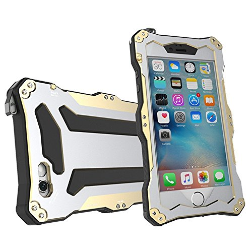 Luxure iphone 6 Alloy Aluminum Metal Case Underwater Waterproof Shockproof Dustproof Durable Protection Case Cover with Fingerprint Recognition Touch ID for Apple iPhone 6/6S 4.7 Inch (Gold)