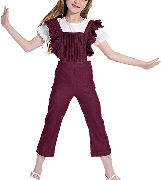 TRTRO EXPOING Overalls for Girl Kids Wide Leg Long Pants Cotton Adjustable Straps