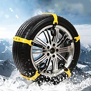 Uniqus 10 PCS Car Snow Tire Anti-Skid Chains Yellow Chains for Family Car(Small Size)