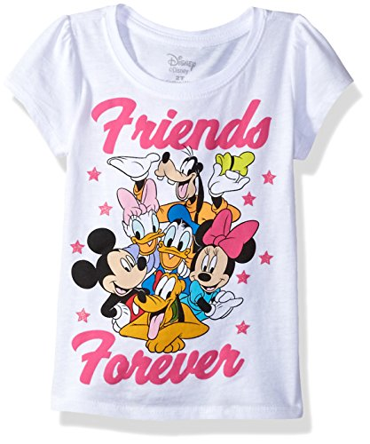 Disney Toddler Girls' Mickey and Friends Short Sleeve Puff Tee, White, 5T