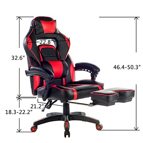 Amazon Com Merax Racing Office Chair Red And Black Pu Leather