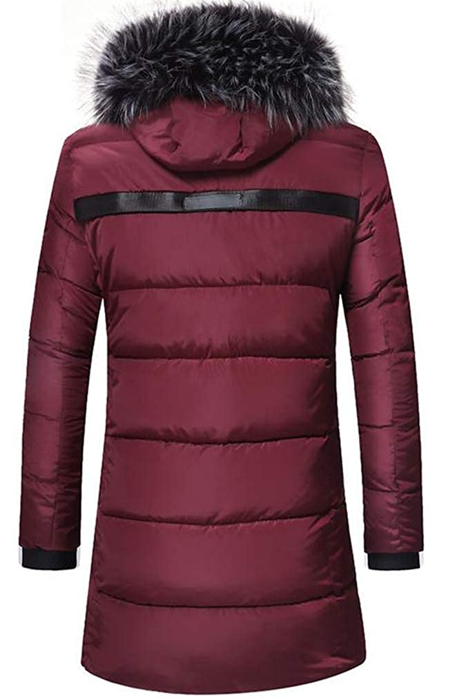 Cromoncent Mens Hoodid Fleece Quilted Casual Contrast Color Down Jacket Anoraks Parka Coat