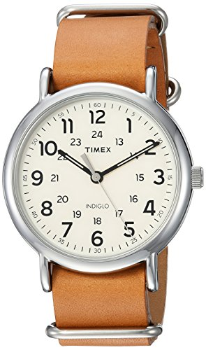 Timex Men's TWG015100 Weekender 40 Tan Leather Slip-Thru Strap Watch Gift Set + Olive Nylon - Box Slip
