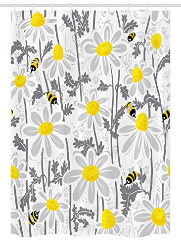 Home Daisy - Ambesonne Grey Decor Stall Shower Curtain, Daisy Flowers with Bees in Spring Time Honey Petals Floret Nature Purity Bloom, Fabric Bathroom Decor Set with Hooks, 54 W x 78 L Inches, Yellow White