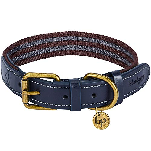 Blueberry Leather - Blueberry Pet 8 Colors Polyester Fabric Webbing and Soft Genuine Leather Dog Collar in Noir Grey and Burgundy, Medium, Neck 15
