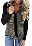 Tutorutor Women's Military Safari Utility Drawstring Lightweight Vest Jacket with Pocket (XX-Large, Camo)