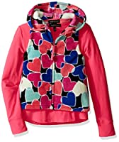 Derek Heart Big Girls' 2 Piece Woobie All Over Printed Hooded Vest with Solid Yummy Tee Set, Black Beauty/Carmellia Rose, s7/8