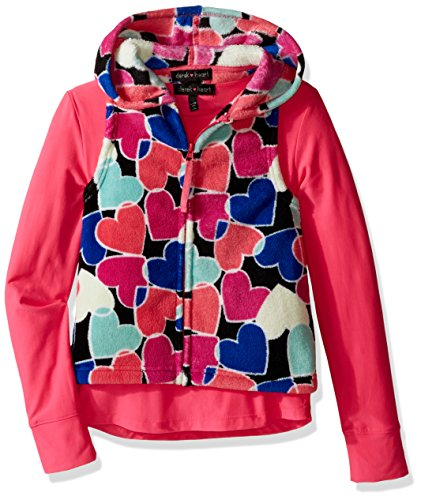 Derek Heart Big Girls' 2 Piece Woobie All Over Printed Hooded Vest with Solid Yummy Tee Set, Black Beauty/Carmellia Rose, l14 (2 Piece Printed Hearts)