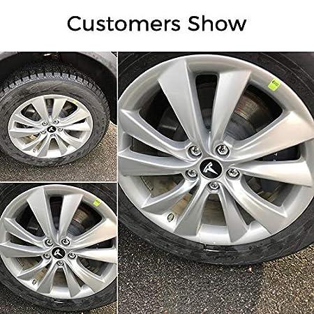 White BASENOR Tesla Model 3 Aero Wheel Cap Kit Aluminum Alloy Center Cap Set and Wheel Lug Nut Cover