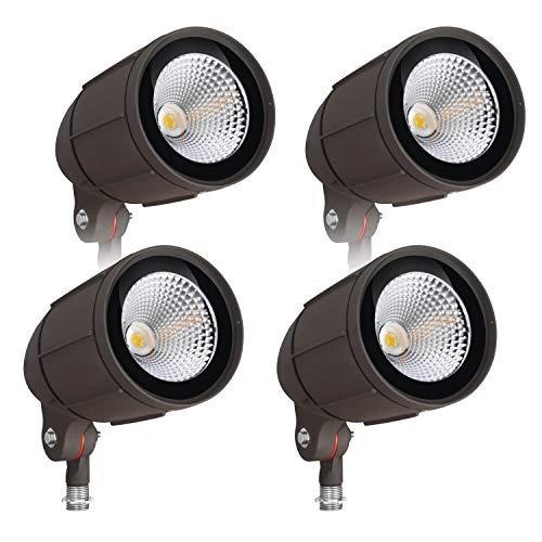 30-Watt LED Bullet Flood Light for 120 Volt Outdoor Landscape Lighting, 3200 lm, Bronze, 150W MH Equal, Flag Pole Light, 60° Flood Beam, Warm White (3000K, 4-Pack) (Halogen Quartz Security Lighting)