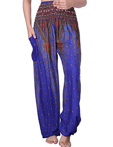 Gypsy Outfits (CHRLEISURE Women's Loose Harem Pants Boho Peacock Print High Waisted Yoga Pants Blue,FreeSize,Blue 1)