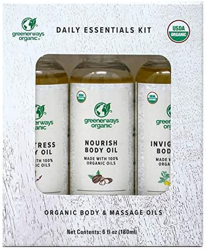 Greenerways Organic Body Oils - Therapeutic Massaging Oils - Scar Removal Oil for Glowing Skin - Anti-Aging Skin Care - Paraben & Alcohol-Free - USDA Certified - Pack of 3, 2 Oz Each