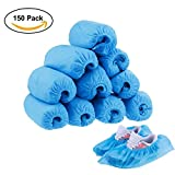 Disposable Boot Shoe Covers, Perskii 150 Pack(75 Pairs) Plastic Waterproof Non-Slip Shoe Protector Cover for Indoor and Outdoor, One Size Fits Most