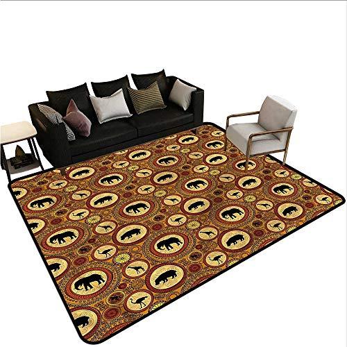 """Zambia,Home Bedroom Floor Mats 36""""x 60"""" African Ethnic Animals Carpet Flooring"""