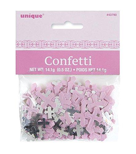 Pink Cross Confetti (Unique Party Radiant Cross Pink Foil Confetti)