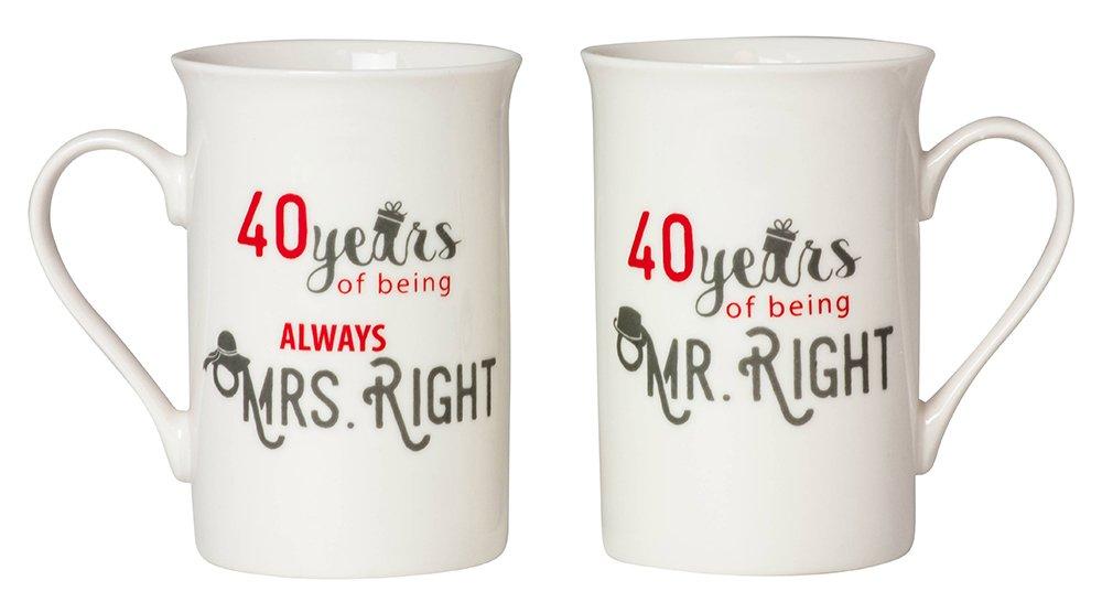 Designer 40th Anniversary Mr Right & Mrs Always Right Mug Gift Set by Haysoms HA101-40TH