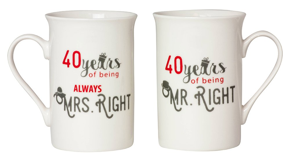 Designer 40th Anniversary Mr Right & Mrs Always Right Mug Gift Set by Haysoms