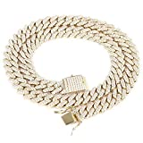 Emesly Solid Miami Cuban Link Chain Gold Necklace