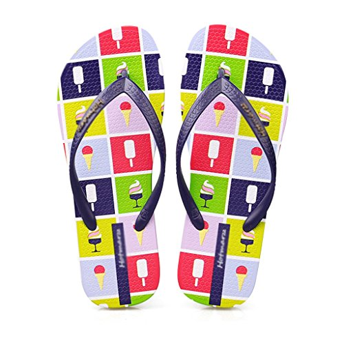 Slippers Female Summer Flat Slip Female Sandals Beach Shoes (Color : PINK, Size : 35) Blue