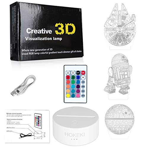 HOKEKI 3D LED Illusion Star Wars Night Lights for Kids, USB Decor Lamp Three Pattern, 16 Color Change Desk Decorative Light with Remote Control, for Kids and Star Wars Fans,3 Packs
