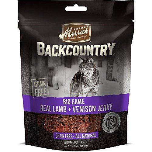 Merrick Backcountry Big Game Real Lamb + Venison Jerky Dog Treat, 4.5Oz (Real Meat Venison Jerky Dog Treats 12 Oz)