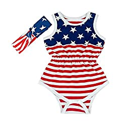 July 4th Romper Newborn Girl Summer Rompers with headband (7-12 months)