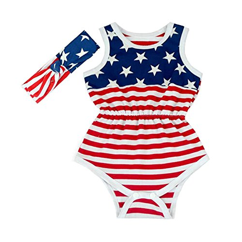 July 4th Romper Newborn Girl Summer Rompers with headband (7-12 months) - 4th Of July Infant Outfits: Amazon.com