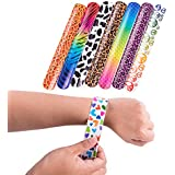 Slap On Plastic Vinyl Retro Bracelets with Colorful Hearts & Animal Print Design Patterns for Children, Toy Party Favors (72 Pack)