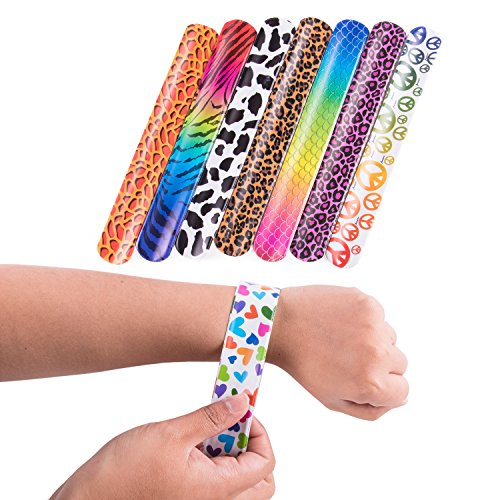 Super Z Outlet Slap On Plastic Vinyl Retro Bracelets with Colorful Hearts & Animal Print Design Patterns for Children, Toy Party Favors (72 Pack)]()