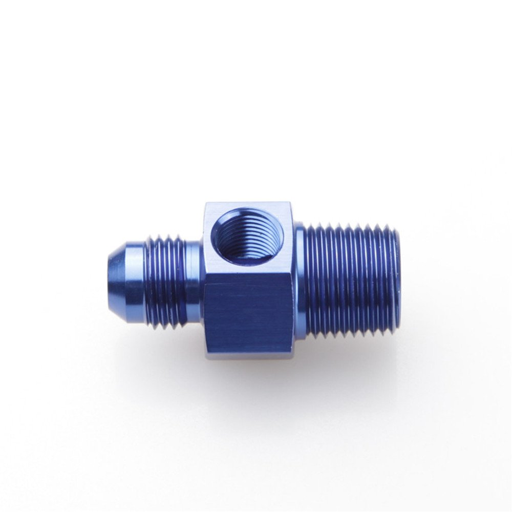 6AN 6-AN Male To 3//8 NPT Pressure Gauge Adapter With 1//8 NPT Port Blue