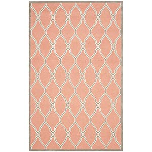 Safavieh Cambridge Collection CAM352W Handcrafted Moroccan Geometric Coral  And Ivory Premium Wool Area Rug (5u0027 X 8u0027)