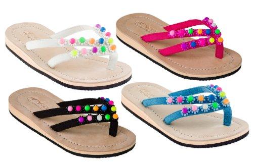 Mädchen Sandalen mit Echt-Leder und verschieden farbigen Perlen SK10-10 Gr.25-34 Blau