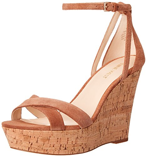 Nine West Jolly Camoscio Zeppa Sandali Naturale