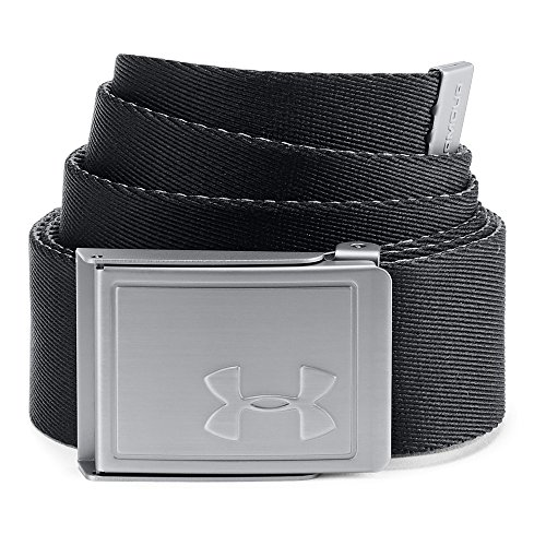 Under Armour Men's Webbing Belt 2.0, Black (001)/Silver, One Size
