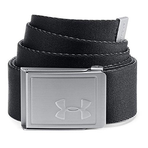 Under Armour Men's Webbing Belt 2.0, Black (001)/Silver, One Size ()